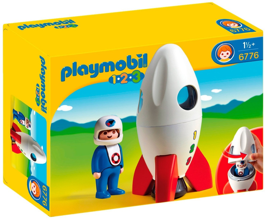 PLAYMOBIL ASTRONAUT AND ROCKET 1 2 3